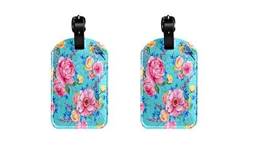 Rosa y Aves cyen Maleta de Etiqueta de Equipaje de Cuero de PU, Correa de Cuero Ajustable Resistente a los arañazos, diseño Elegante Paquete de 2
