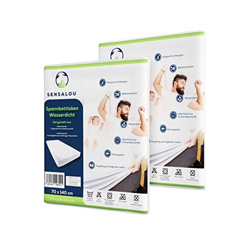 Sensalou Baby Bed Moisture Protection 70 x 140 Waterproof Mattress Topper Set of 2