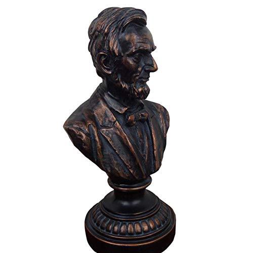Mnjin Decoracin del hogar Estatua del Busto de Lincoln, Presidente de los Estados Unidos Abraham Lincoln Estatua del Busto de Resina Escultura Artesana Recuerdo del Personaje
