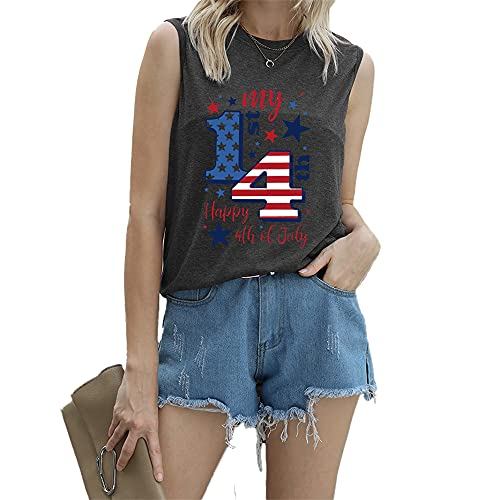 Mayntop Camiseta de manga corta para mujer con diseño de bandera de Estados Unidos con texto en inglés 'God Bless' para el 4 de julio, B-gris oscuro, 40