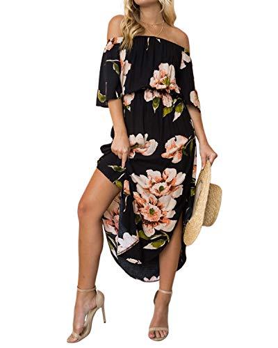 YOINS Sommerkleid Damen Lang V-Ausschnitt Off Shoulder Maxikleider für Damen Kleider Lose Kleid Strandmode,Schulterfrei-schwarz,EU 36-38(Small)