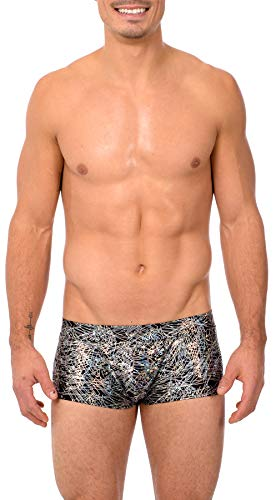 Gary Majdell Sport Mens Print Contour Pouch Bikini Swimsuit (Small, Flick_BLK_SIL)