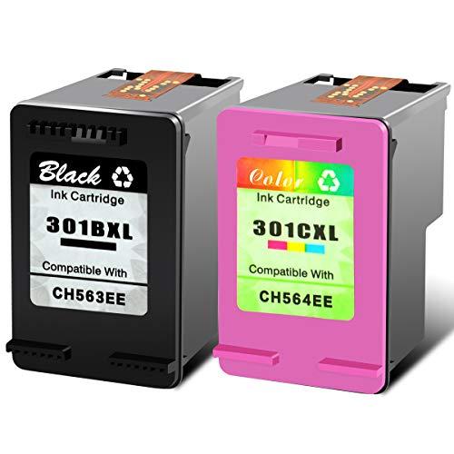 NineLeaf - Cartucho de tinta reanufacturado 301XL compatible para HP 301 XL HP301 DeskJet 1050 2050 3050 2150 3150 1010 1510 2540 (1 negro, 1 color)