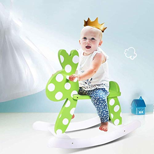 YINUO Ride-ons Children's Wooden Horse Rocking Horse Baby Toy Bunny Deer Rocking Horse Rocking Chair Baby Birthday Gift Rocking Horse Bearing Gravity,Can Bear 50kg