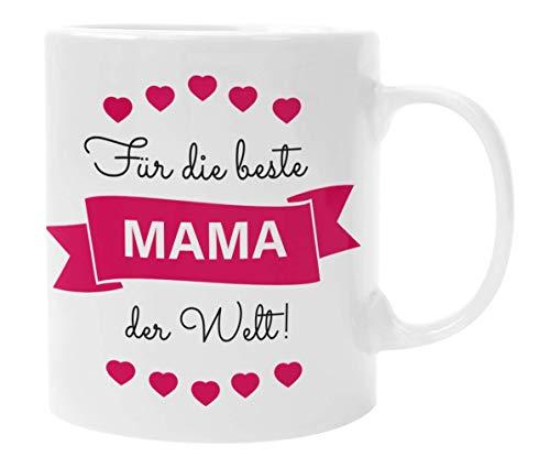Mama Geschenke I Tasse mit Spruch Für die Beste Mama der Welt (Rot) I Geschenk für Mama von Tochter Sohn I Geburtstagsgeschenk für Mama