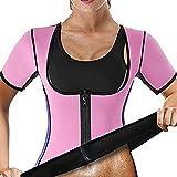 Yokbeer Sauna de Neopreno Mangas Cortas para Modelador de Cuerpo Sauna de Mujer Mangas Cortas con Cremallera PéRdida de Peso Deportes Adelgazamiento Sudor Body Shaper (Color : Pink, Size : M)