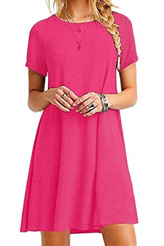 YMING Damen Kleid Kurzarm Tunika Rundhals Lose T-Shirt Kleid Casual Basic Kleid,Fuchsia,XL/DE 42