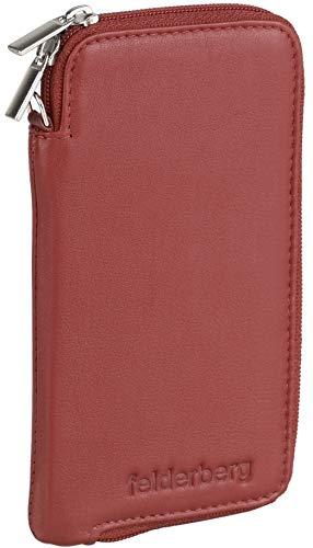 felderberg Handytasche aus feinstem Echt-Leder mit Reißverschluss und Handschlaufe, für bis 6,3 Zoll Smartphones geeignet (Rot)