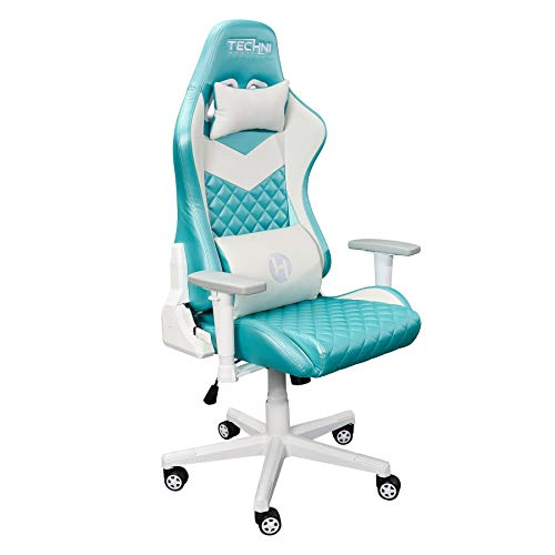 Techni Sport High Back Racing Chair with Foam Seat and Padded Arms, Ergonomic Office Chair with Height and Tilt Adjustment, Aqua