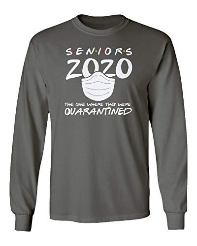 Sheki Apparel Coronavirus 2020 Quarantined Seniors Covid 19 Humor Men's Long Sleeve T-Shirt (Gray, Medium)