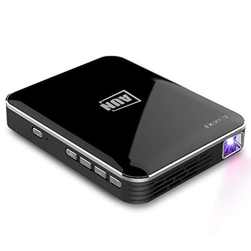 AUN X3 Mini proyector portátil Android IOS 1080P, Proyector de pantalla de video DLP Proyector para espejo de teléfono Incluye de trípode soporte USB / SD / HDMI / DC-in