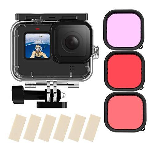 TELESIN Wasserdichtes Gehäuse für GoPro Hero 9 Schwarz, 50 m Unterwasser-Tauchen, transparente Schutzhülle mit Schnellverschluss-Halterung für GoPro Hero9 Black Action Kamera Tauchzubehör (HERO9)