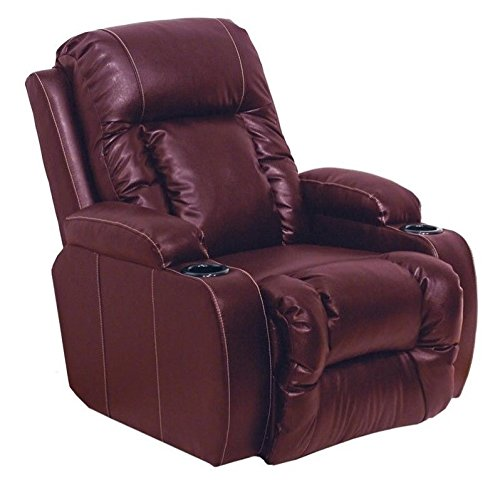 Catnapper Top Gun Leather Power Theater Recliner in Red