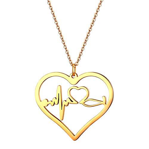 JewelryWe Schmuck Edelstahl Herzschlag Pulse Rhythmus EKG Herzfrequenz Hohl Herz Anhänger mit 45cm Kette, Krankenschwester Arzt Medizinische Stethoskop Charme Halskette für Damen Frau, Gold