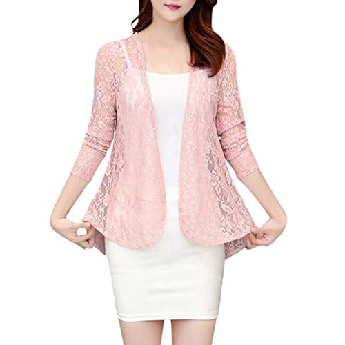 Alangbudu Women Elegant Lace Hollow Out Casual Blazer 3/4 Sleeve Open Front Relax Fit Office Lightweight Cardigan Shrug Pink