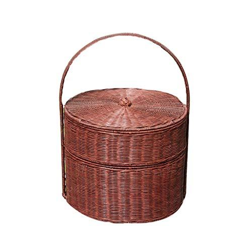 Weidenkorb Picknickkorb Rattan-Picknickkorb, Einkaufskorb, Bambuskorb, Runder Doppelkorb, Großer Hängender Korb Für Ausflüge, Outdoor 36 * 42cm (Farbe : Braun)