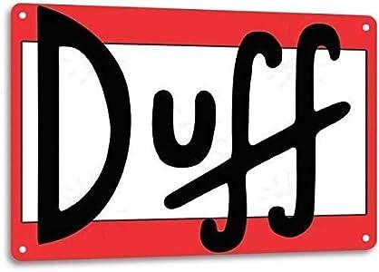 Letrero de metal con el logotipo de la cerveza Duff de Lotusworld con diseño retro de The Simpson Wall Bar Man Cave Decor, 8 x 12 pulgadas