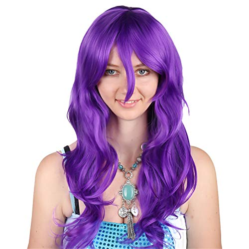 Long Wavy Curly Hair Wavy Curly Glamorous for Women Pink Highlights Synthetic Wigs Daily Party Clothing Wig - Purple - One Size