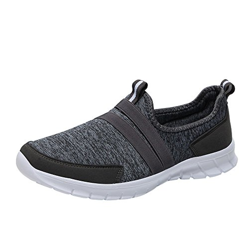 Review ANJUNIE Mesh Soft Sneaker Round Head Bottom Set Footwear Sports Lazy Shoes Workout(Dark Gray,...