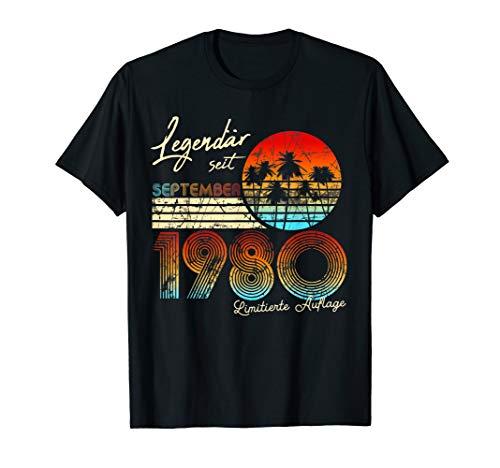 40. Geburtstag Geschenk Männer Legendär Seit September 1980 T-Shirt