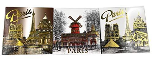 DESSAPT EDITIONS L ART DU SOUVENIR - Lot de 3 Magnets dorés décorés avec Les Monuments de Paris - Collection Souvenirs de Paris