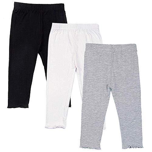Capri Leggings for Girls 3 Pack Girl's Cropped Leggings Soft Stretchy Comfortable Casual Modal Tight Pants (Black/White/Grey, 6-7 Years)