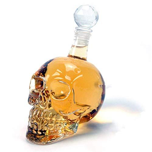 Whiskey Decanter, Crystal Skull Bottle, Glass Dispenser also for Brandy Tequila Bourbon Scotch Rum, Great Gift For Any Bar (1L)
