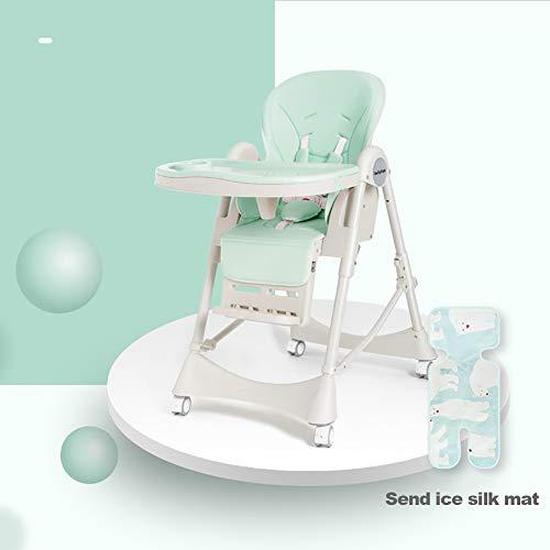 Trona para bebés, Material asequible y Respetuoso con el Medio Ambiente, Bandeja extraíble, Mesa de Comedor para bebés, Trona Ajustable compacta, fácil de Limpiar-Green