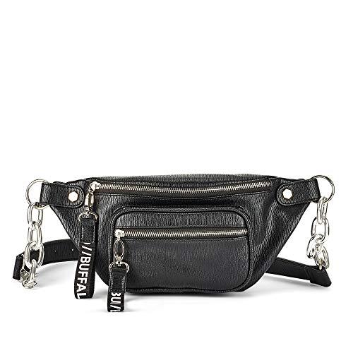 Buffalo 4104021 modische Damen Tasche aus Lederimitat Reißverschluss Trageriemen, Groesse OneSize, schwarz