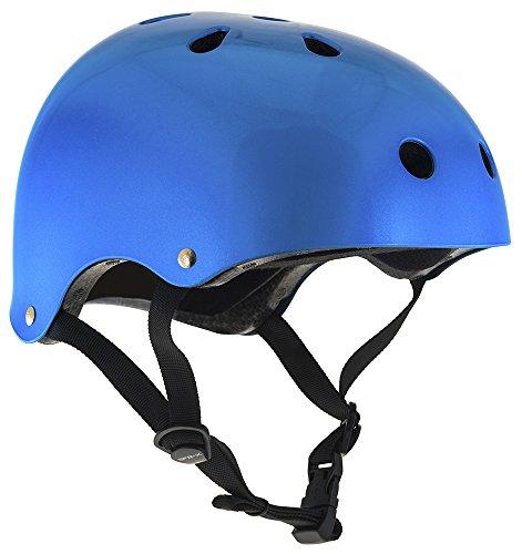 Helm für Skater,Scooter,Biker (Blau metallic, S - M / 53 - 56 cm)