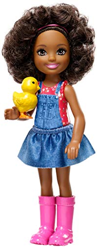 Barbie Sweet GCK63 Orchard Farm Chelsea Doll, Curly Brunette, with Chick