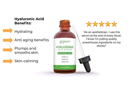 41ayviuTavL - goPure Hyaluronic Acid Serum for Face - Anti Aging Serum with Vitamin C & E, Green Tea - Anti Wrinkle Hydrating Serum - Facial Moisturizer Collagen Serum - Helps Hydrate and Plump the Skin