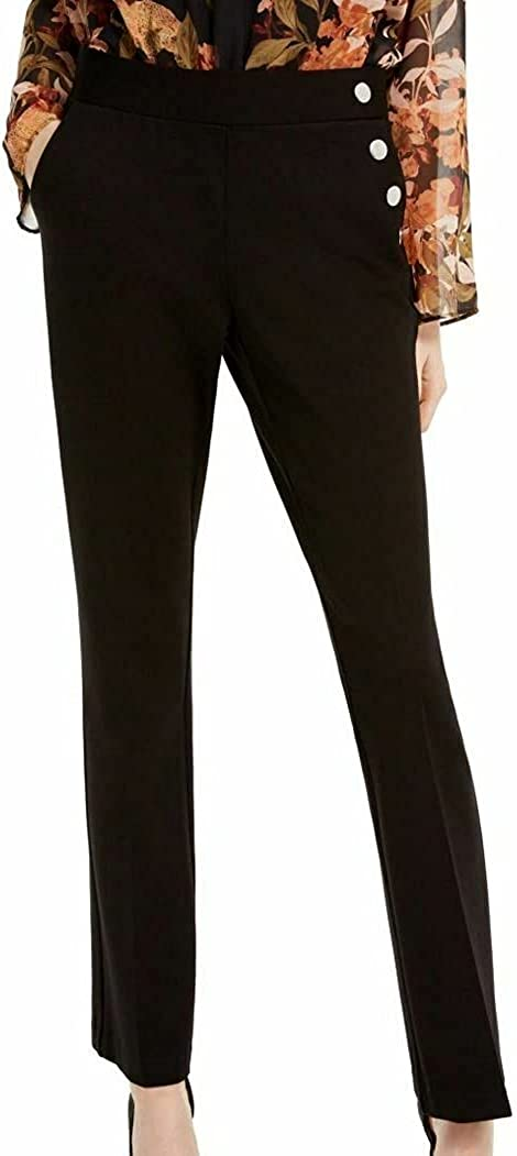 INC New Women's Mid Rise Side-Button Pull On Boot-Leg Casual Pants Deep Black 0