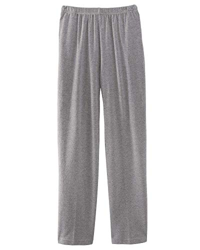 UltraSofts Petites Elastic-Waist Interlock Pull-On Pants with UV Protection, All-Day Comfort, Heather Gray, Petite Medium