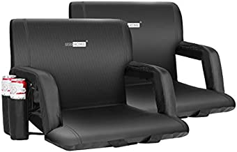 VIVOHOME 24.5 Inch Extra Wide Reclining Stadium Seat Chairs with Backrest and Armrests, Portable Cushions for Bleachers, Pack of 2