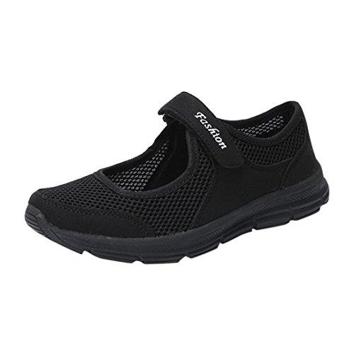 QinMM Zapatos Zapatillas Respirable Mocasines deportesMujer Sneaker Malla Plataforma Sandalias Casual Verano (40, Negro)