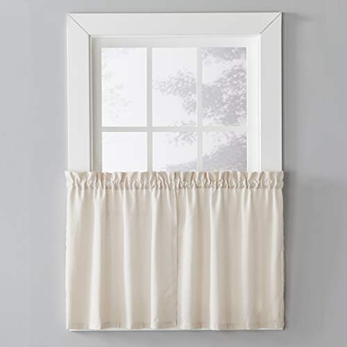 SKL Home by Saturday Knight Ltd. Nelson Curtain Tier Pair, Linen, 57 inches x 24 inches