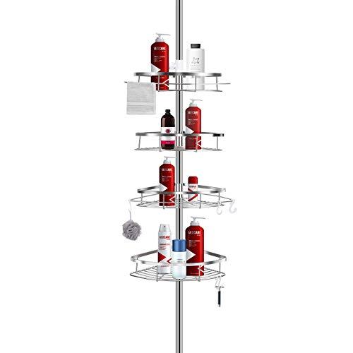 ShowerCaddy LIBZAKI Shower Corner Tension Pole Caddy Rustproof 304 Stainless Steel Shower Organizer Bathtub Storage Organizer for Organizing Hand Soap Body Wash 37 to 9ft Height