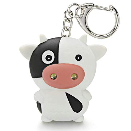 Turtle Story AOLONGWL Keychain Nette LED-Kuh-Vieh Schlüsselanhänger mit Sound-Taschenlampe Mini-Spaß-Spielzeug für Kinder-Tier-Schlüsselanhänger Kinder-Geschenk-Schlüsselanhänger JXNB