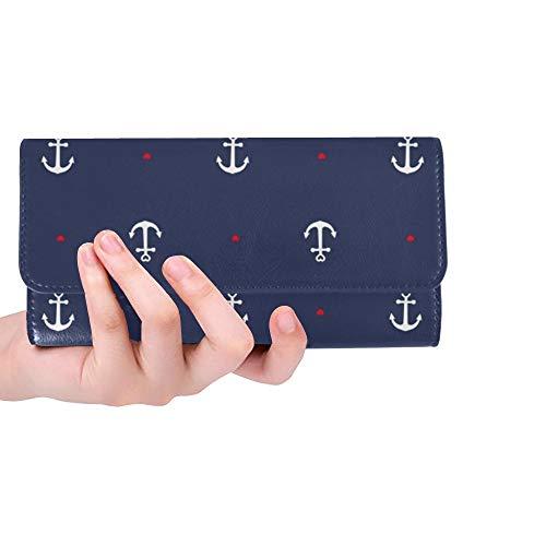 JOCHUAN Einzigartige benutzerdefinierte Anker Herz blau Frauen Trifold Brieftasche lange Geldbörse Kreditkarteninhaber Fall Handtasche
