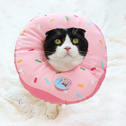 Mascotas Collar con Anillo para el Cuello Collar Impreso para Mascotas Collar Ajustable de algodón Suave para Perros y Gatos, Rosa, L