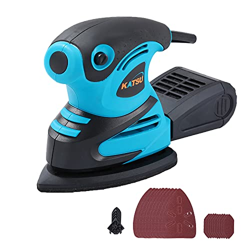 KATSU Mouse Detail Electric Sander, 180W with Dust Collection System, with 20Pcs Sandpapers