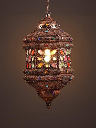 Zenghh Cristal de estilo hechos a mano pendientes Fixture turco marroquí Indonesia de Arabia del Este Bohemia sudeste asiático conjunto de vidrio de mosaico de techo colgante colorido de la lámpara de