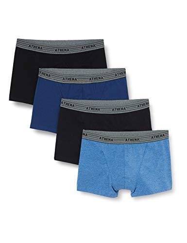 Athena LD40 Basic Boxeur - Lot de 4 - Homme - Multicolore (Bleu/Noir/Bleu Chine/Noir) - XXXX-Large (Taille fabricant: 8)