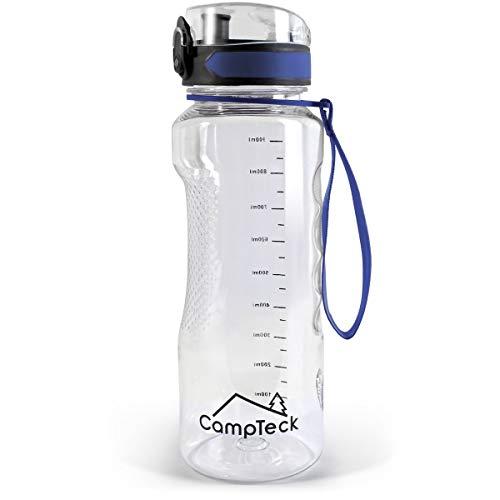 CampTeck U6972 - BPA Free Botella Agua de 1 litro (1000 ml 1l Water Bottle Deportiva Tritan - Tapa antirreflejo con Cierre a Prueba de Fugas - con Correa de Transporte - Azul - 1000 ml (1 litro)