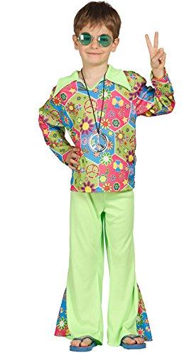 Guirca 85604 Hippie Kostüm für Kinder 7/9 Jahre, mehrfarbig, 7-9 (125-135 cm),