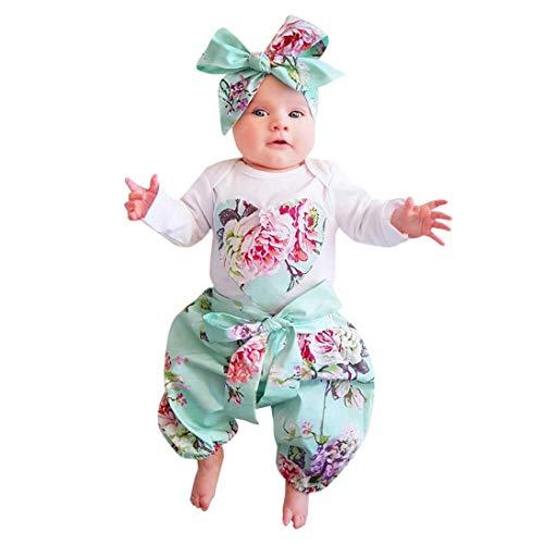 URSING 3 Stück Weich Kleinkind Säugling Baby Mädchen Beiläufig Blumen Drucken Kleider Set Lange Ärmel Tops + Hose + Stirnband Outfits 6-24 Monat (Weiß_D, 6M)