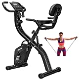 Folding Exercise Bikes DISPANK 3-in-1 X Bike Indoor Recumbent Exercise Bikes, Lightweight Foldable Stationary Bike with Arm Resistance Band and Backrest, 10-Level Resistance for Men, Women and Seniors