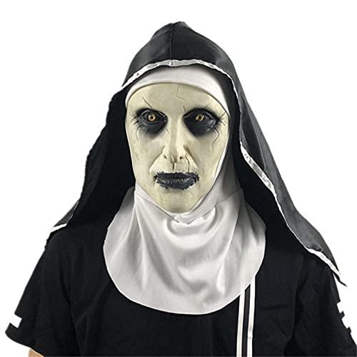 Máscaras Halloween, El horror de la monja aporta las máscaras de látex de Cosplay de miedo con el pañuelo en la cabeza, el disfraz de fiesta de Halloween espeluznante ( Color : A , Size : One size )