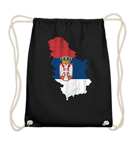 SwayShirt Serbien Srbija Fussball Nationalmannschaft Soccer Flagge Serbisches Trikot Landkarte - Baumwoll Gymsac